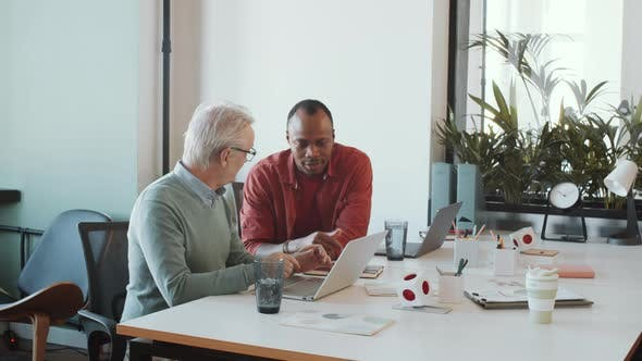 Thumbnail for Young African American Man Helping Senior Coworker with Using Laptop