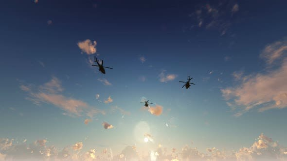 Thumbnail for 4K War Helicopters - Dramatic Background