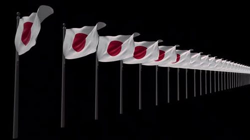 Row Of Japan Flags With Alpha 2K