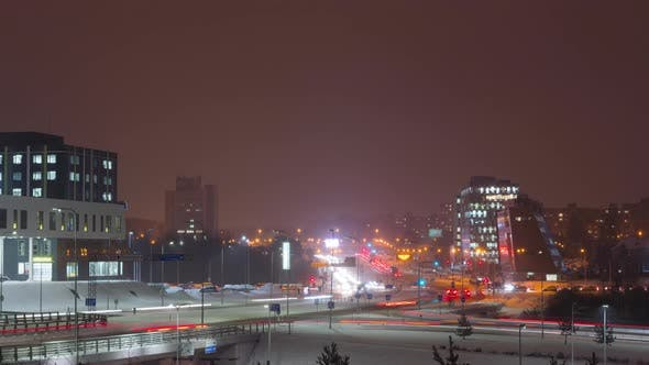 Thumbnail for Evening traffic in the city in winter