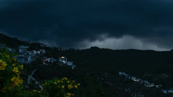 Thumbnail for Rain clouds over the tropical mountains in Samui, Thailand