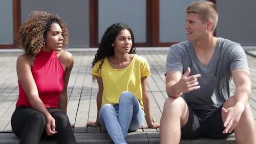 Multiethnic Friends Talking Outdoor