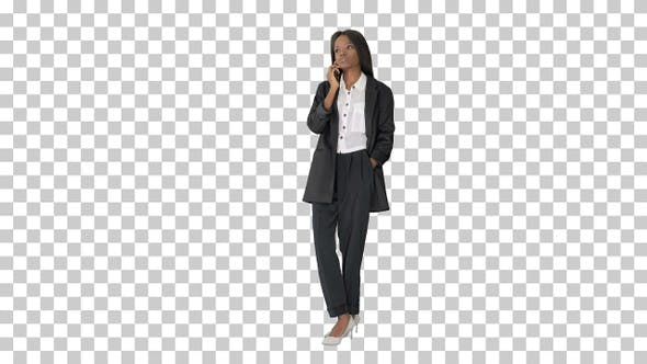 Casual African American Businesswoman, Alpha Channel