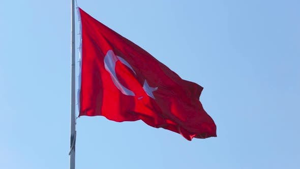 Thumbnail for Turkish Flag Flutters in Wind in Sunny Day