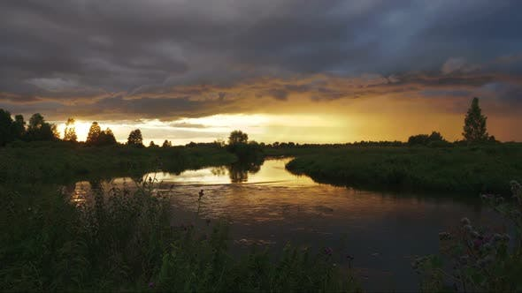 Thumbnail for Dramatic Sunset on a Wild River. Time Lapse