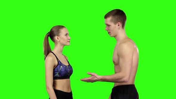 Thumbnail for Couple Talking at the Gym, Slow Motion, Green Screen