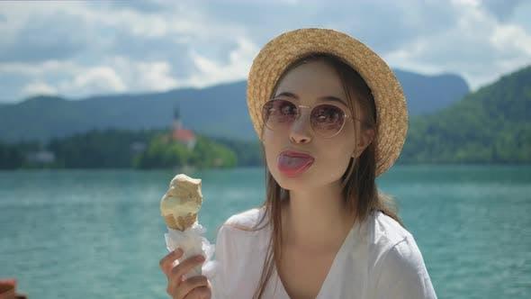 Girl with Icecream Having Fun and Teasing