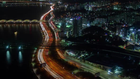 Aerial Korea Illumination Seoul Road and Bridge