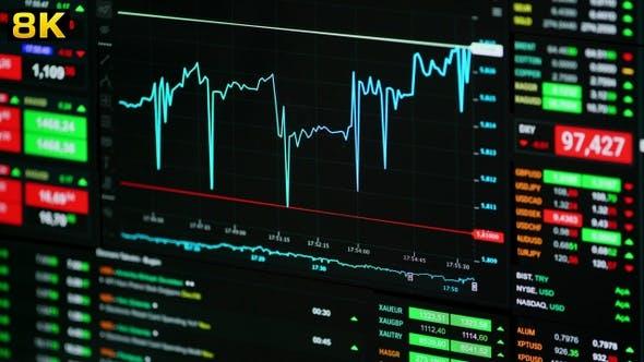 Thumbnail for 8K Stock Market Trend on Screen