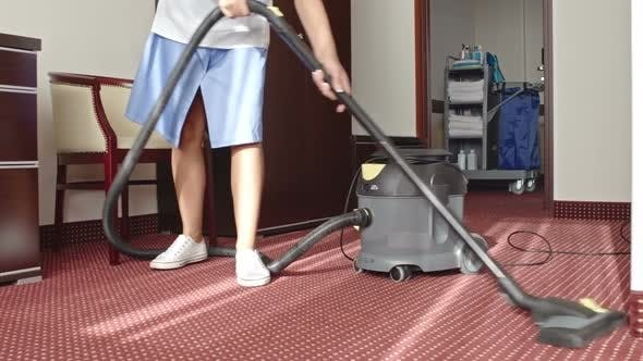 Thumbnail for Cleaning Lady Vacuuming Room