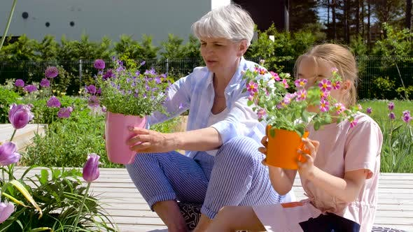 Thumbnail for Grandmother and Girl Planting Flowers at Garden 30
