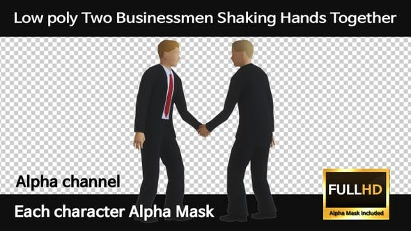 Low Poly Two Businessmen Shaking Hands Together