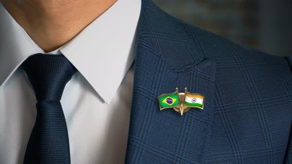 Businessman Friend Flags Pin Brazil India