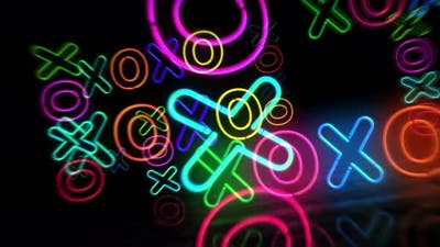 XOXO symbol neon 3d flight between