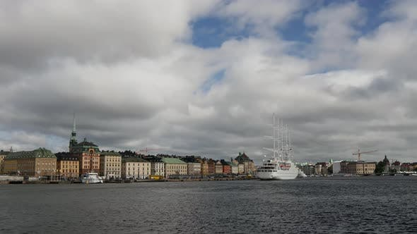 Time lapse from cruise ship Wind Surf arriving in Gamla Stan Stockholm