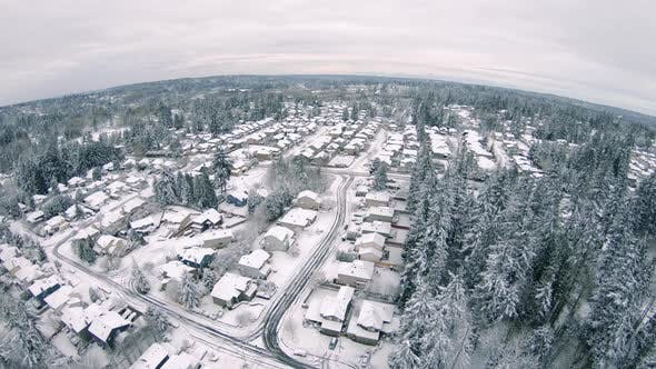 Thumbnail for Winter Snow Covered Residential Community Housing Aerial