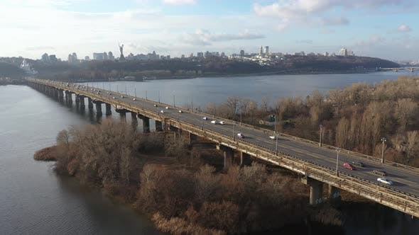 Thumbnail for City Traffic on the Bridge in the Kiev City
