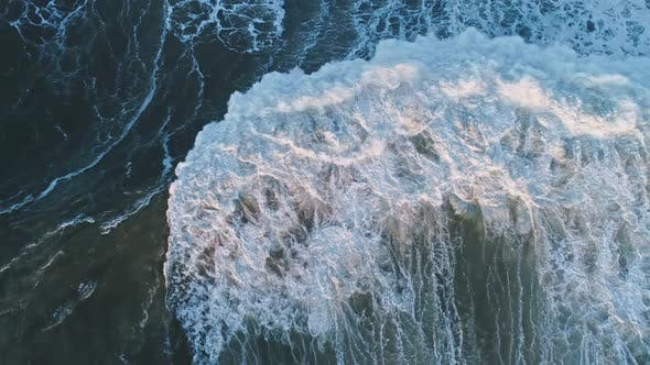 Thumbnail for Aerial Top View on Big Wave of Atlantic Ocean