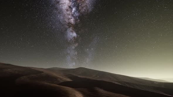 Thumbnail for Amazing Milky Way Over the Dunes Erg Chebbi in the Sahara Desert