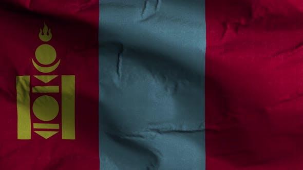 Mongolia Flag Textured Waving Background 4K
