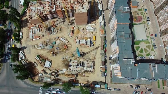 Thumbnail for Top aerial view of a construction site in the city
