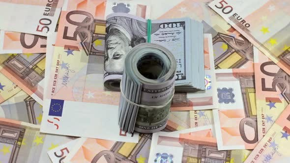 Thumbnail for Rotating Hundred Dollar And Euro Banknotes 10