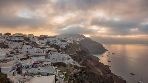 Cloudy Dawn on the Greek Island of Santorini