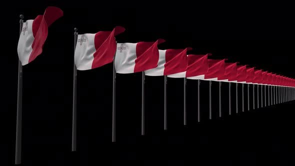 Row Of Malta Flags With Alpha 4K