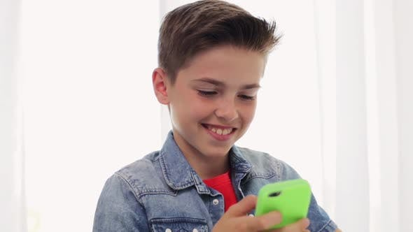 Thumbnail for Happy Smiling Boy with Smartphone at Home 18
