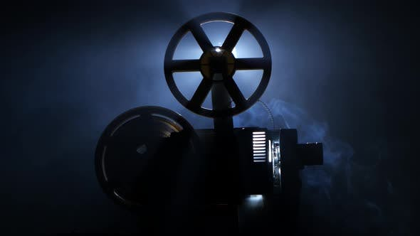 Thumbnail for Old Vintage Movie Projector End of the Film. Side View