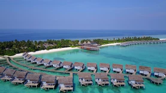 Thumbnail for Daytime drone clean view of a paradise sunny white sand beach and blue ocean background in high reso