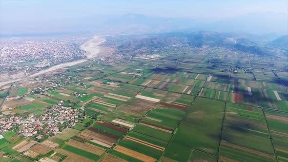 Thumbnail for Shkoder aerial view , agriculture and fields