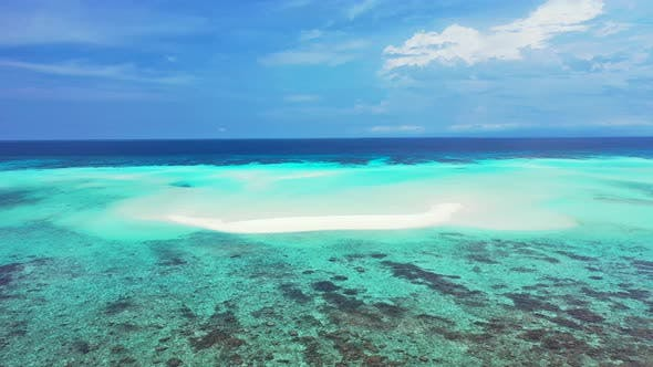 Thumbnail for Tropical birds eye clean view of a white paradise beach and blue water background in vibrant 4K