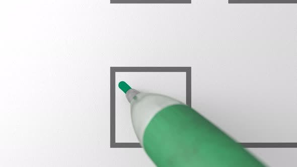Cover Image for Close Up Loop of Green Ballpen Drawing Green Check Mark Sign in a Checkbox