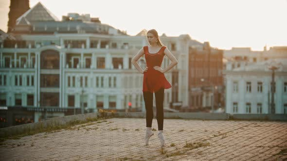 Thumbnail for Young Woman Ballerina Training on the Roof