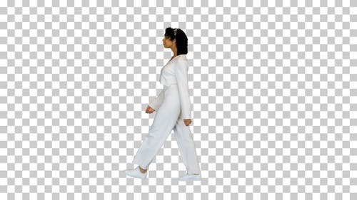 African American girl walking happily, Alpha Channel
