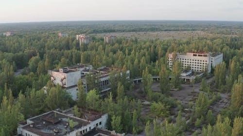 Aerial Shot of Abandoned Town Buildings in Pripyat