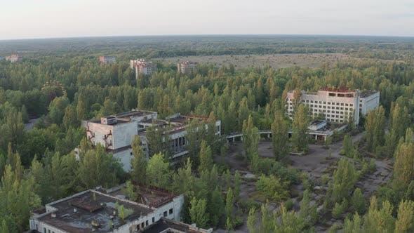 Luftaufnahme verlassener Stadtgebäude in Pripyat