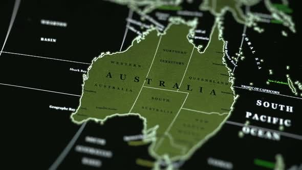 Thumbnail for Australia On The Physical World Map On A Black Background.