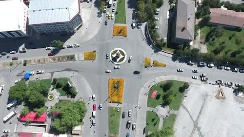 Aerial View of Highway Crossroads Roads