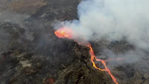 Aerial view of Fagradalsfjall erupting volcano near Grindavik, Iceland