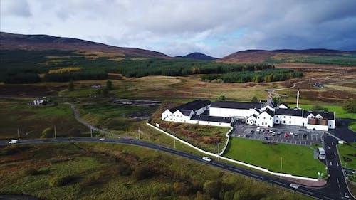 Distillery in Dalwhinnie Scotland Aerial