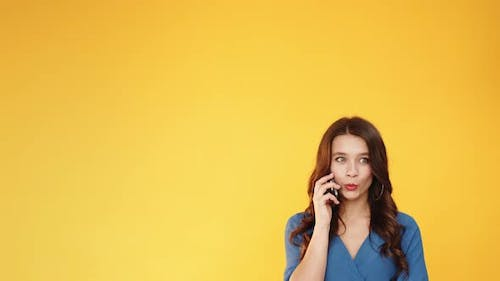 Mobile Surprise Advertising Background Woman Phone
