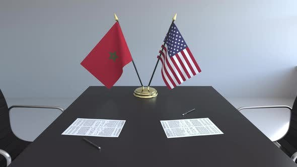 Flags of Morocco and the United States and Papers