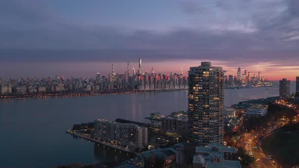 Aerial New York Skyline at Sunset