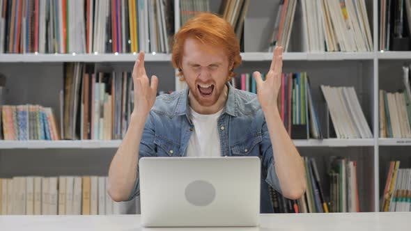 Thumbnail for Angry Screaming Redhead Man at Work in Office, Shouting