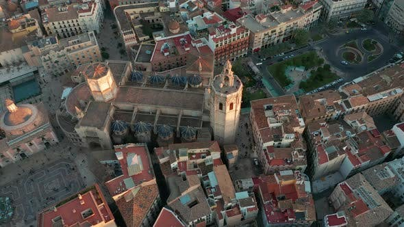 Thumbnail for Aerial View. Valencia, Spain. Square of Saint Mary at Sunset.