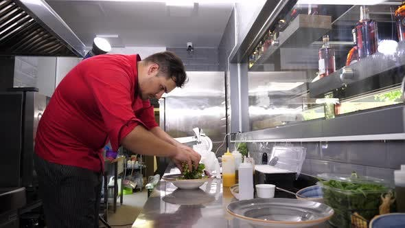 Thumbnail for Cook in Restaurant Kitchen Preparing an Avocado Salad