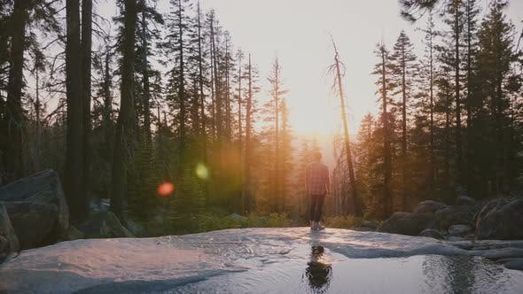 Thumbnail for Back View of Free Happy Young Man Enjoying Amazing Sunset