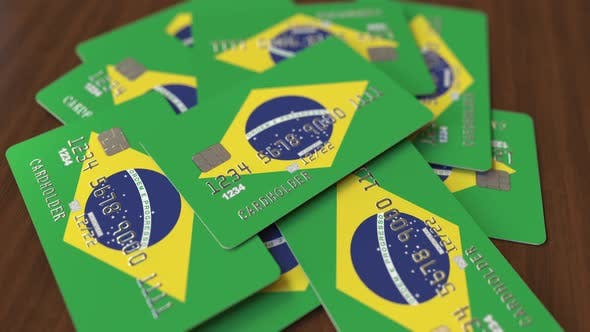 Thumbnail for Credit Cards with Flag of Brazil